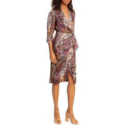 Rebecca Taylor Snakeskin Print Wrap Dress