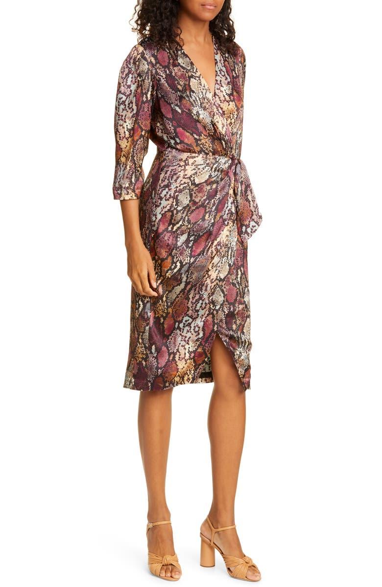 REBECCA TAYLOR Snakeskin Print Wrap Dress, Main, color, 200