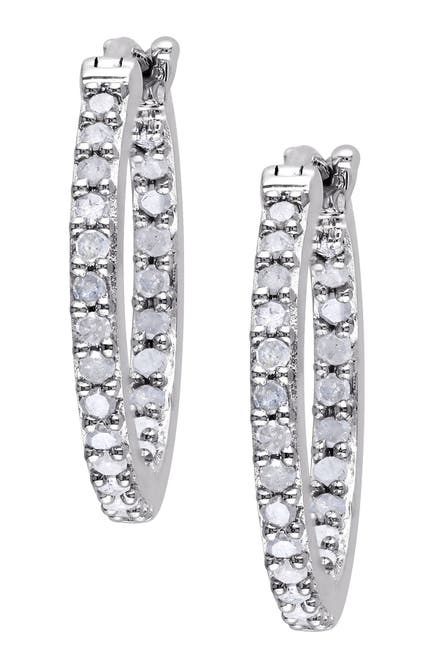 Image of Delmar Sterling Silver Diamond 18mm Hoop Earrings - 0.50 ctw