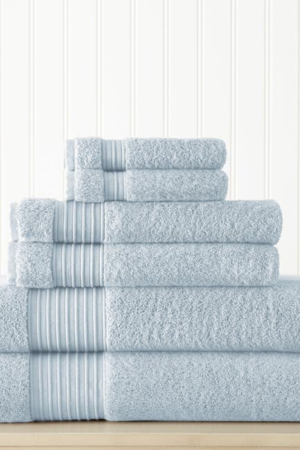 Image of Modern Threads 6-Piece Turkish Cotton Towel Set - Light Blue