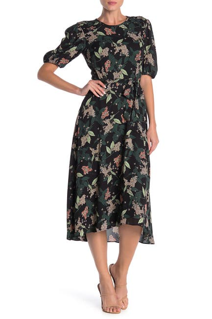 Image of Donna Morgan Smocked Shoulder Floral Print Dress