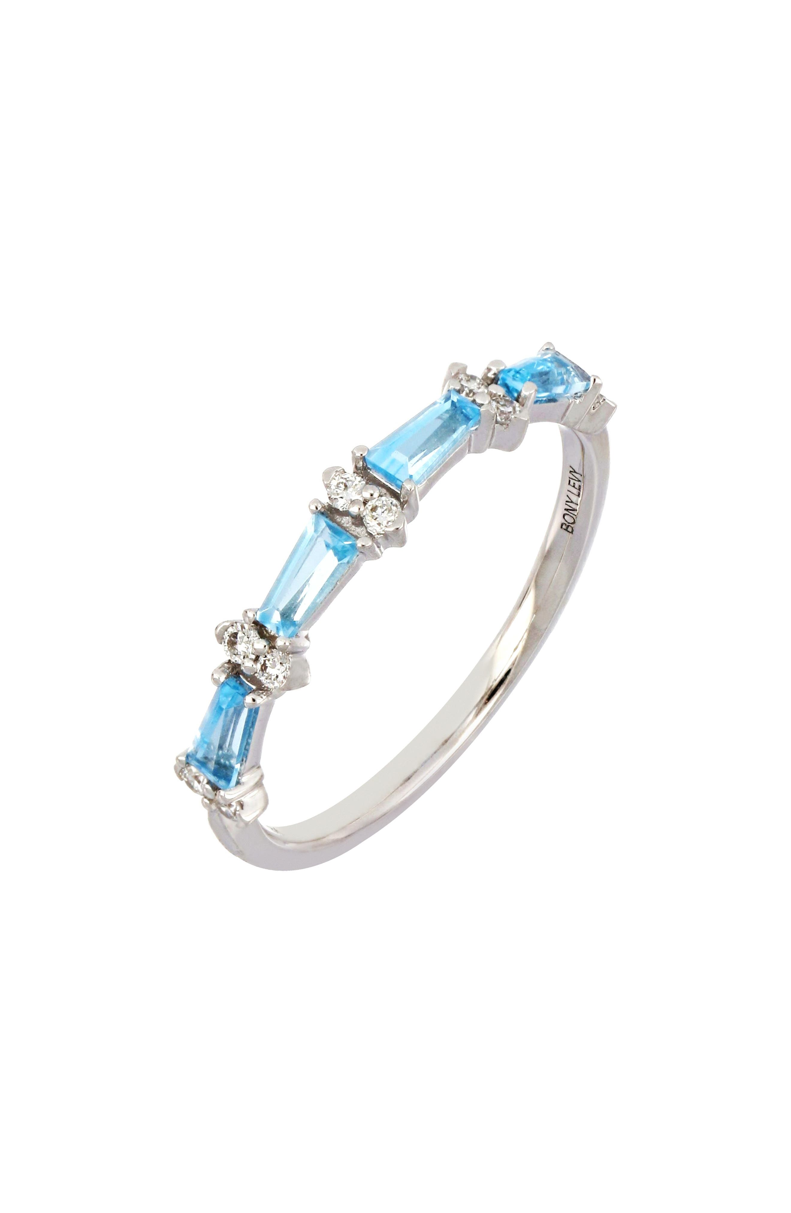 Alternating fancy-cut blue topaz and round diamonds bring delightful color and sparkle to this stackable band handcrafted in 18-karat white gold. Style Name: Bony Levy Blue Topaz & Diamond Stacking Ring (Nordstrom Exclusive). Style Number: 5981566. Available in stores.