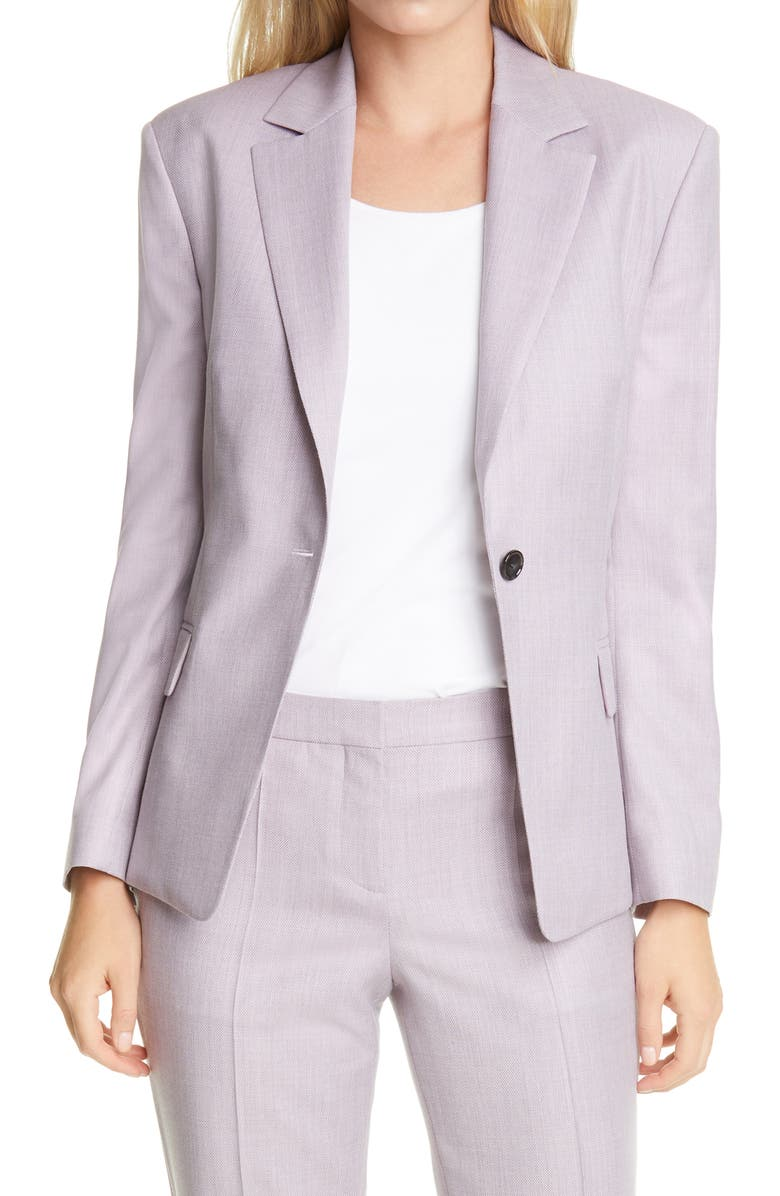 BOSS Janera Wool Blazer, Main, color, LIGHT ROSE FANTASY
