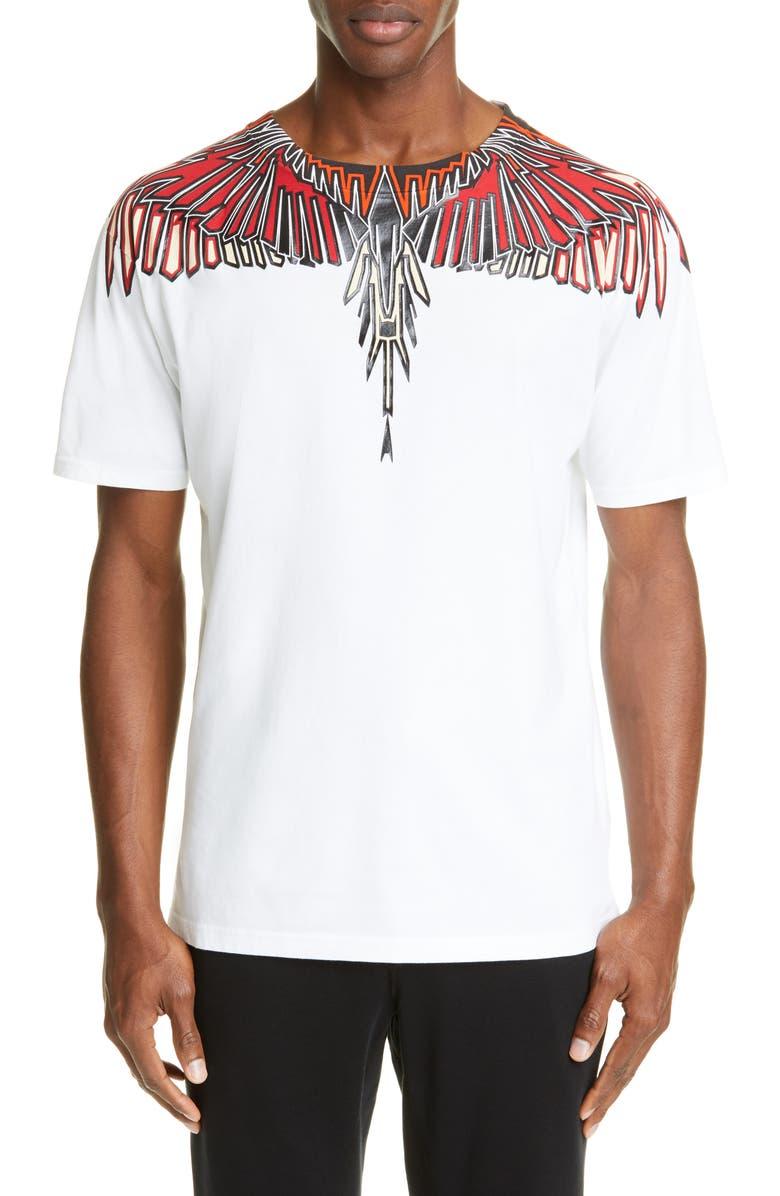 MARCELO BURLON Geometric Wings T-Shirt, Main, color, WHITE MULTI