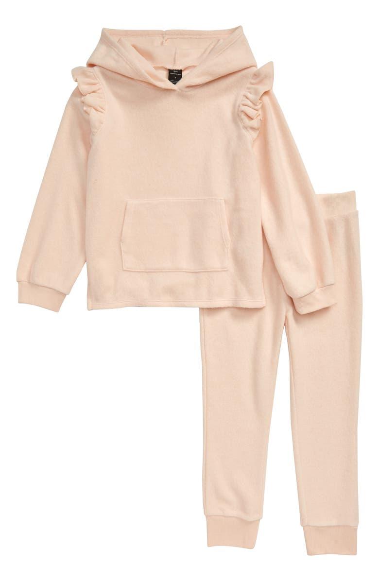 SOMETHING NAVY Easy Fleece Sweatshirt & Jogger Set, Main, color, PINK SOFT