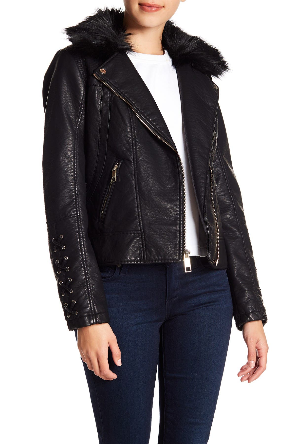 Image of GUESS Faux Fur & Leather Moto Jacket