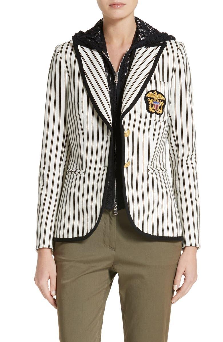VERONICA BEARD Spirit Stripe Cotton Blazer, Main, color, 117