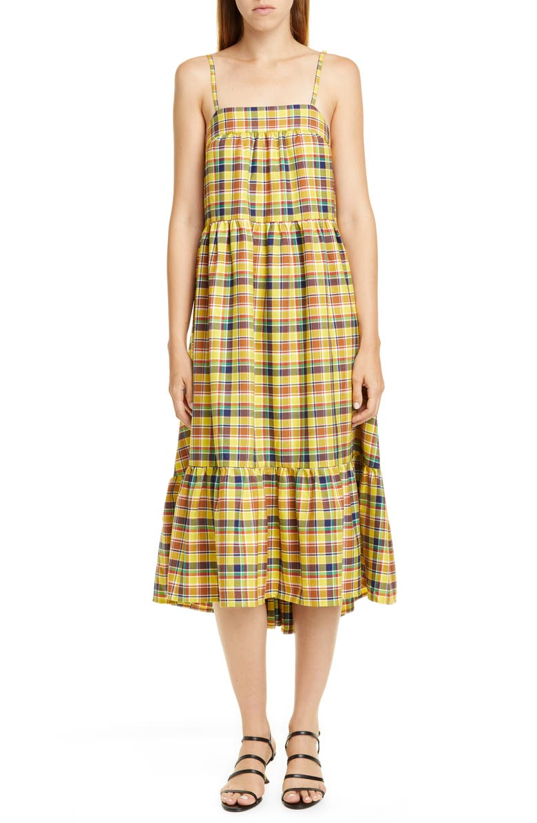 SIMON MILLER Pumpa Plaid Print Midi Sundress, Main, color, AUTUMN PLAID