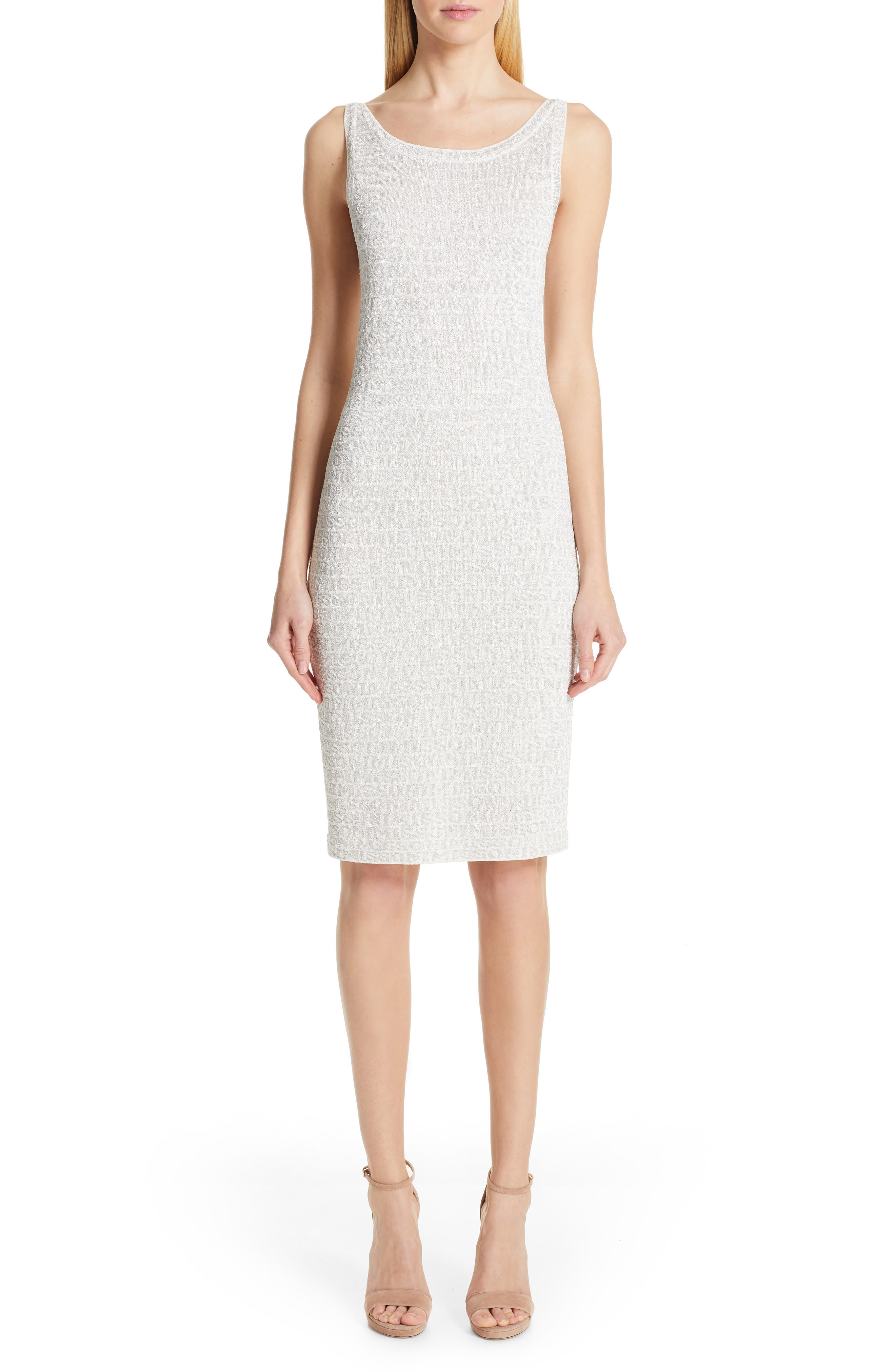 Missoni Metallic Logo Jacquard Sweater Dress, US / 42 IT - White