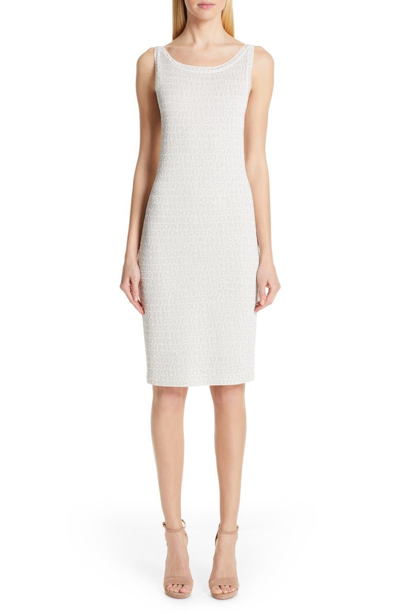MISSONI Metallic Logo Jacquard Sweater Dress, Main, color, WHITE