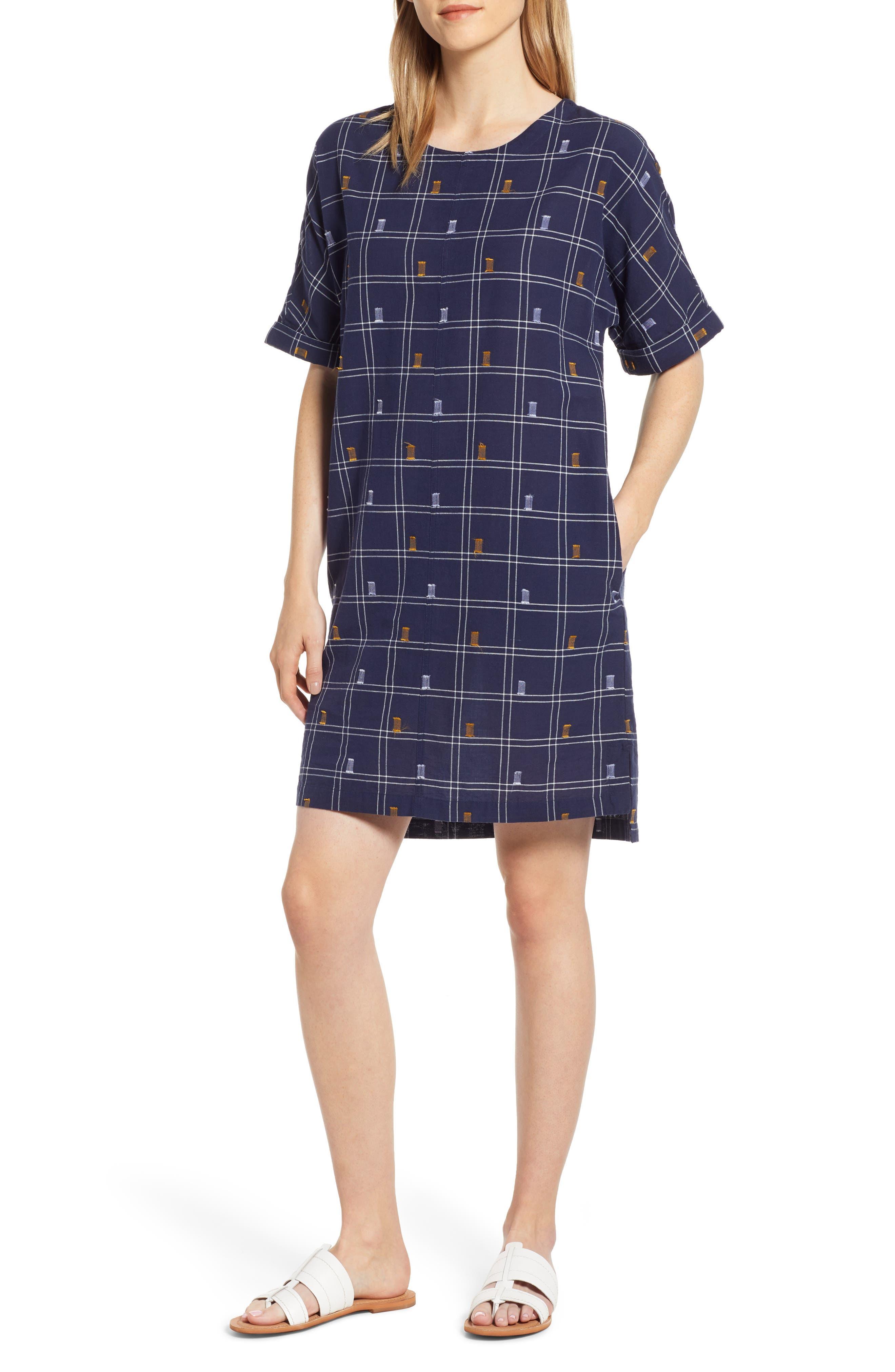 Caslon Jacquard Shift Dress, Blue