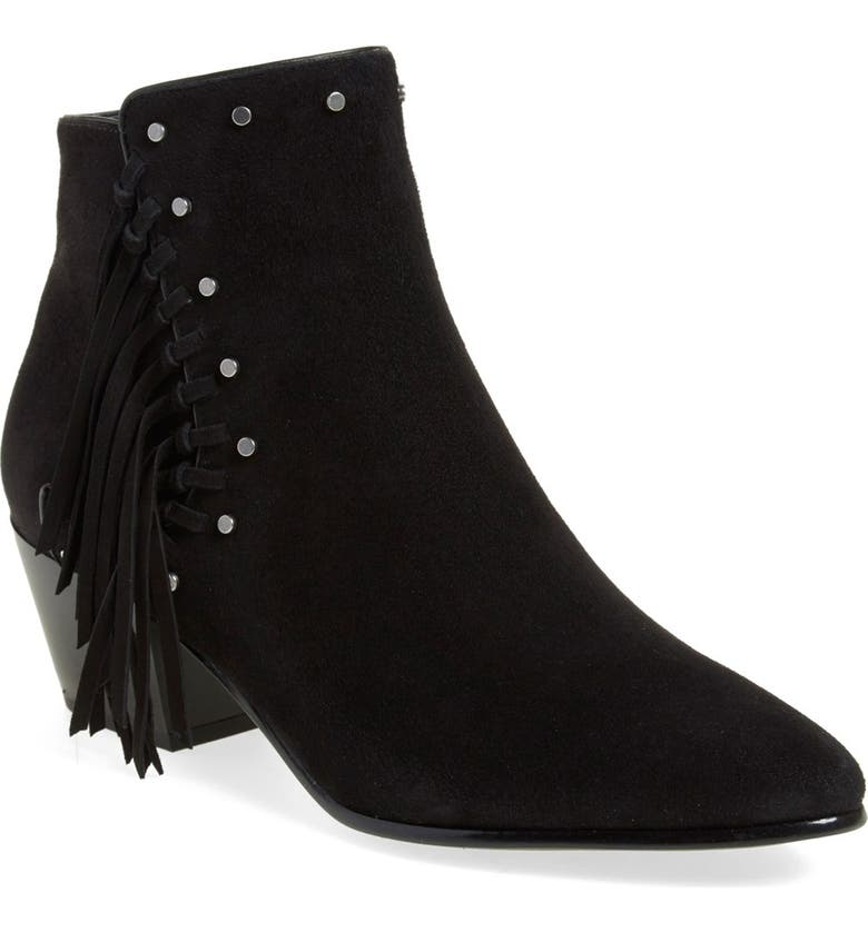 SAM EDELMAN 'Rudie' Studded Fringe Bootie, Main, color, 001