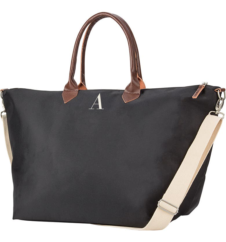 CATHY'S CONCEPTS Monogram Oversized Tote, Main, color, BLACK A