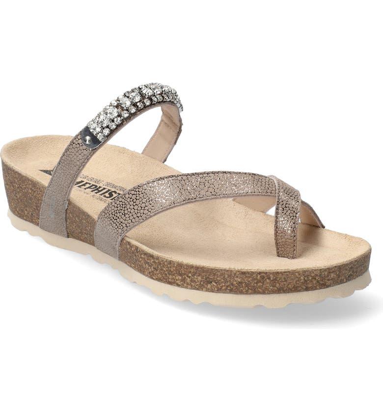 MEPHISTO Solaine Crystal Embellished Sandal, Main, color, DARK TAUPE METALLIC LEATHER