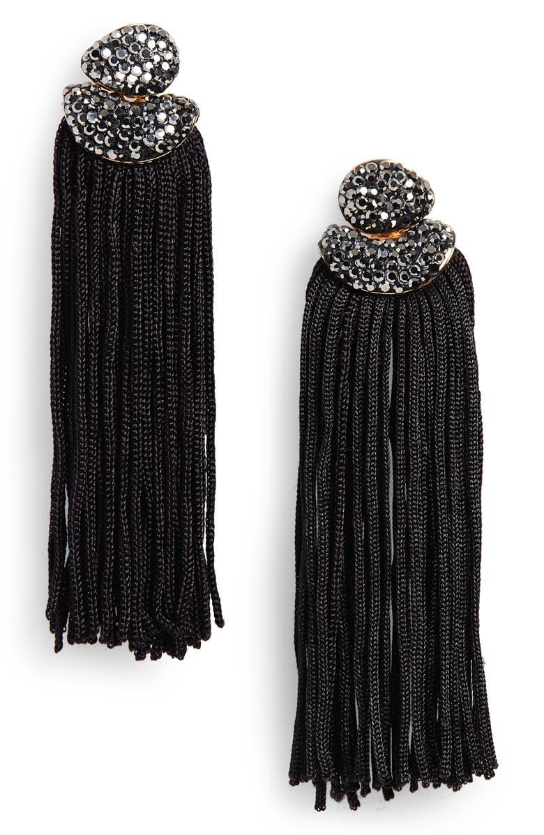 PANACEA Luxe Top Fringe Drop Earrings, Main, color, 001