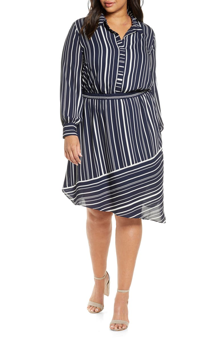 VINCE CAMUTO Plain View Stripe Long Sleeve Asymmetrical Dress, Main, color, CAVIAR