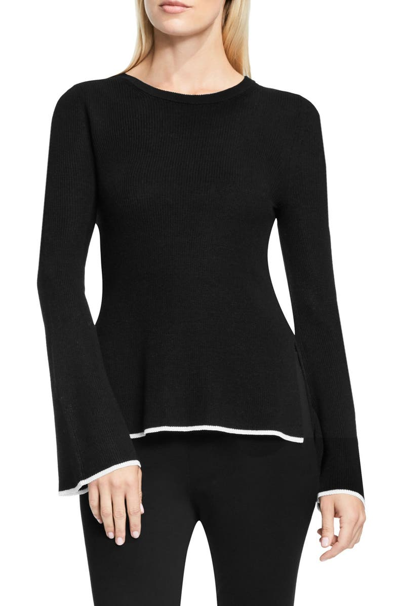 VINCE CAMUTO Bell Sleeve Sweater, Main, color, RICH BLACK