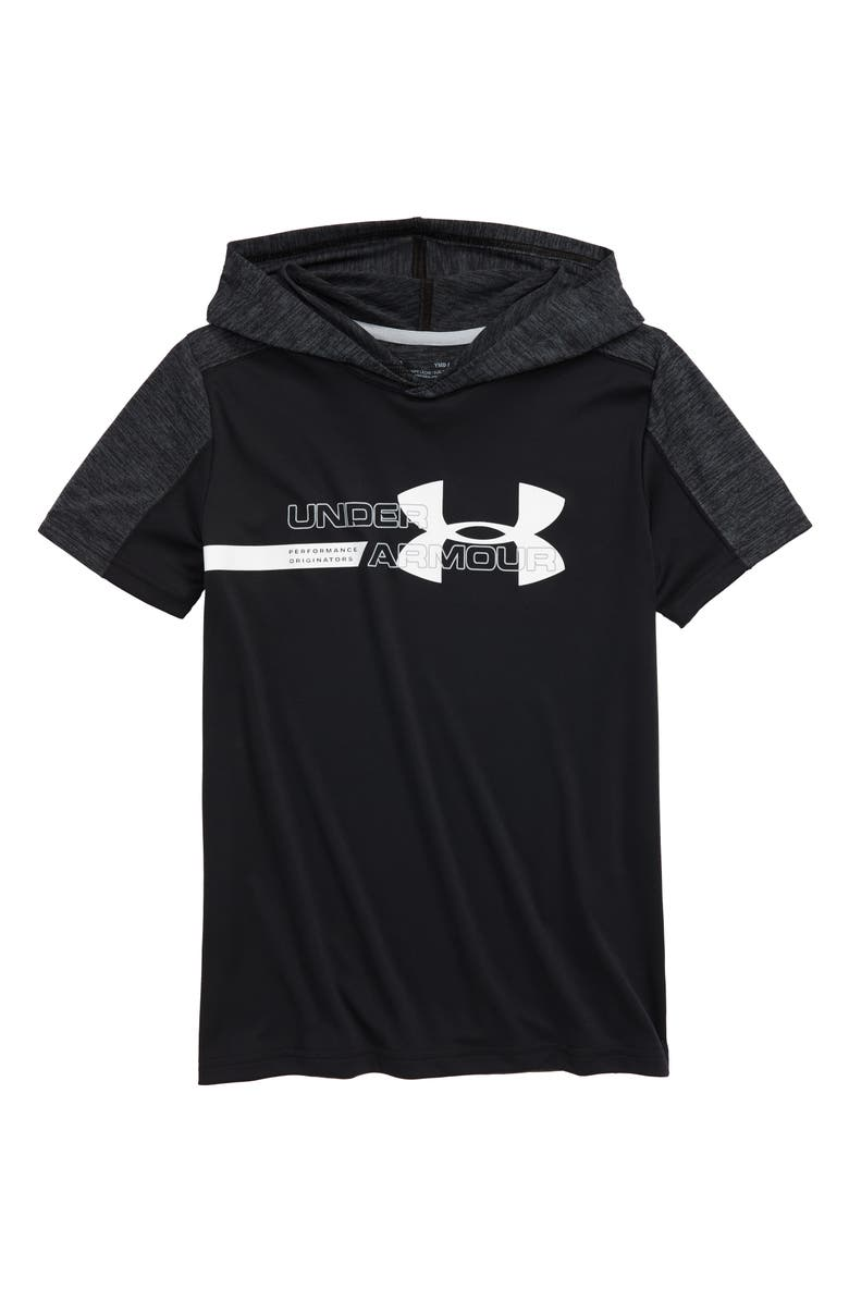 UNDER ARMOUR Tech Short Sleeve Hoodie, Main, color, 001