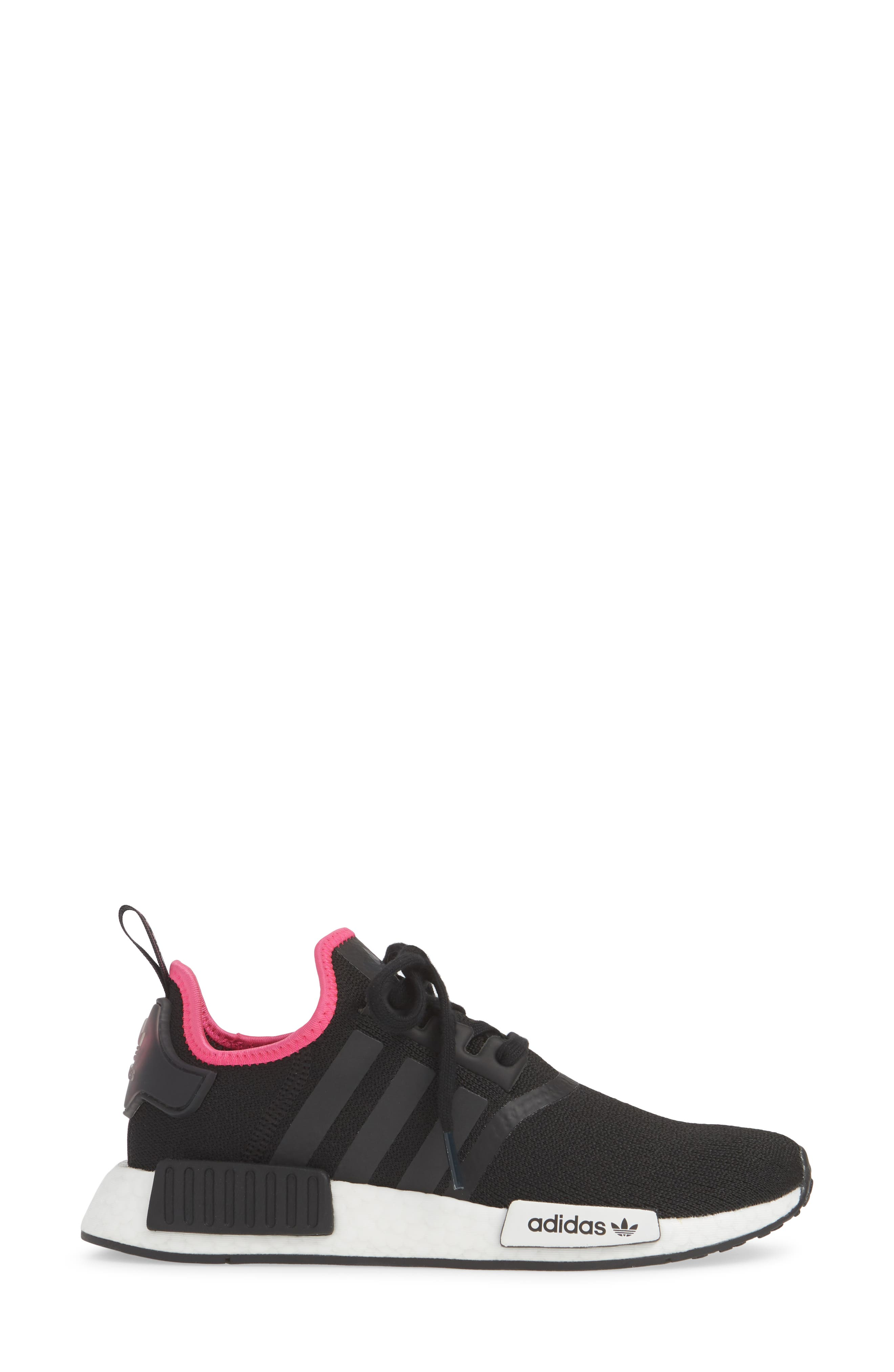,                             NMD R1 Athletic Shoe,                             Alternate thumbnail 4, color,                             CORE BLACK/ SHOCK PINK