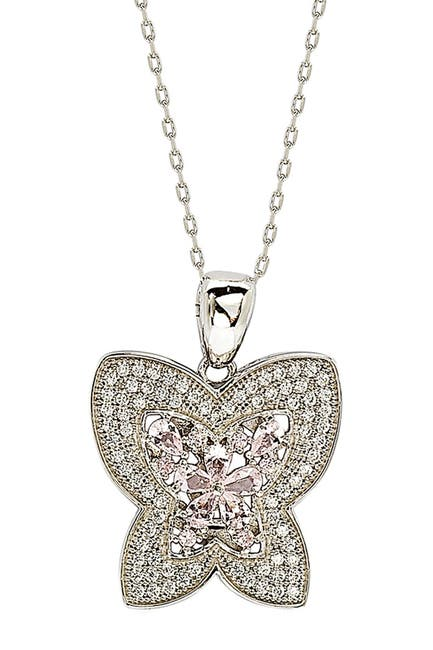 Image of Suzy Levian CZ Sterling Silver Butterfly Pendant Necklace