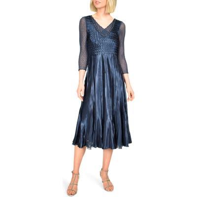 Komarov Embellished Charmeuse Midi Dress, Blue