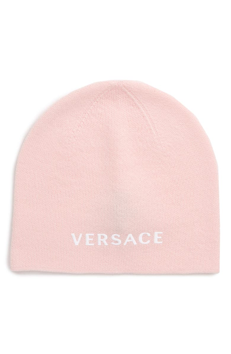 VERSACE FIRST LINE Logo Knit Wool Beanie, Main, color, ROSA/ BIANCO