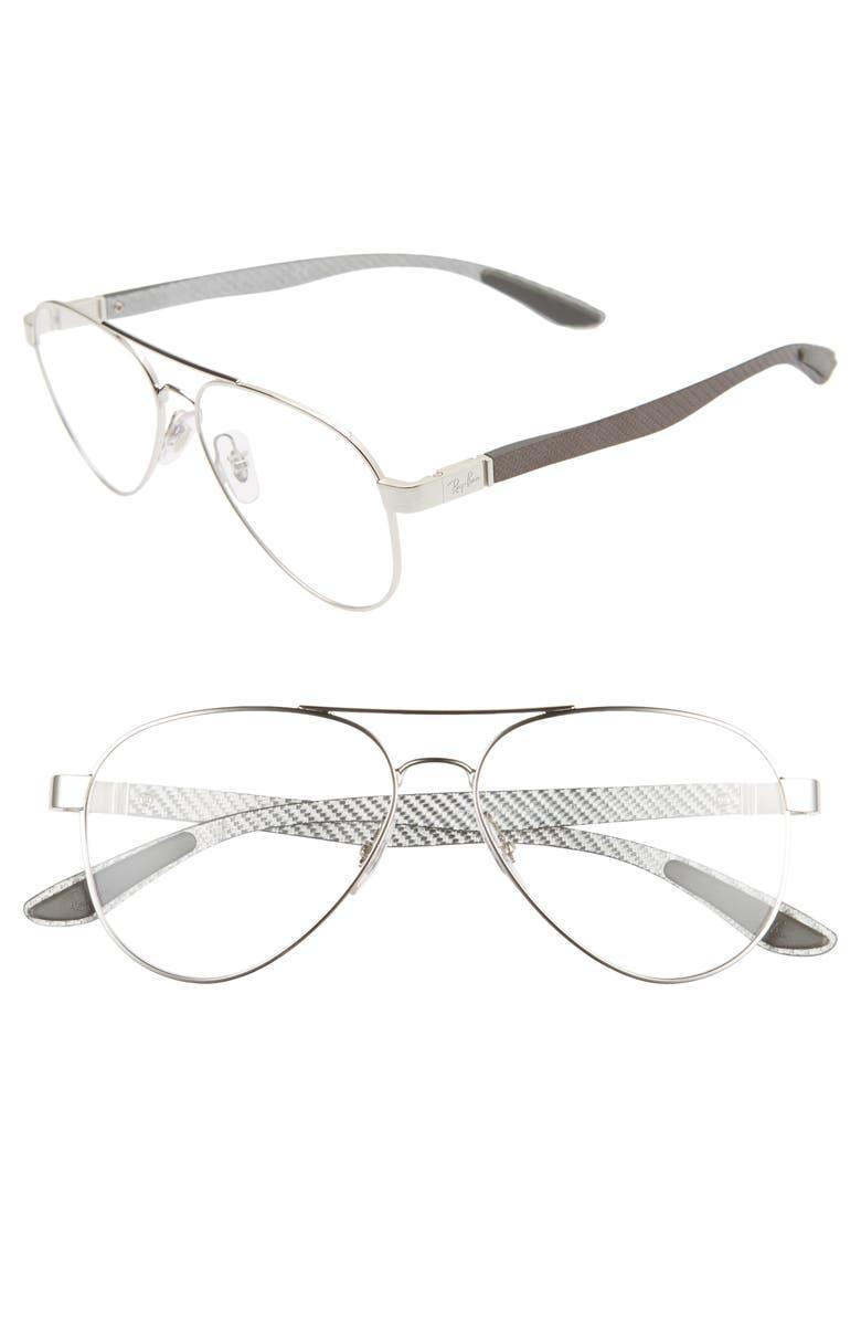 RAY-BAN 55mm Aviator Optical Glasses, Main, color, SILVER