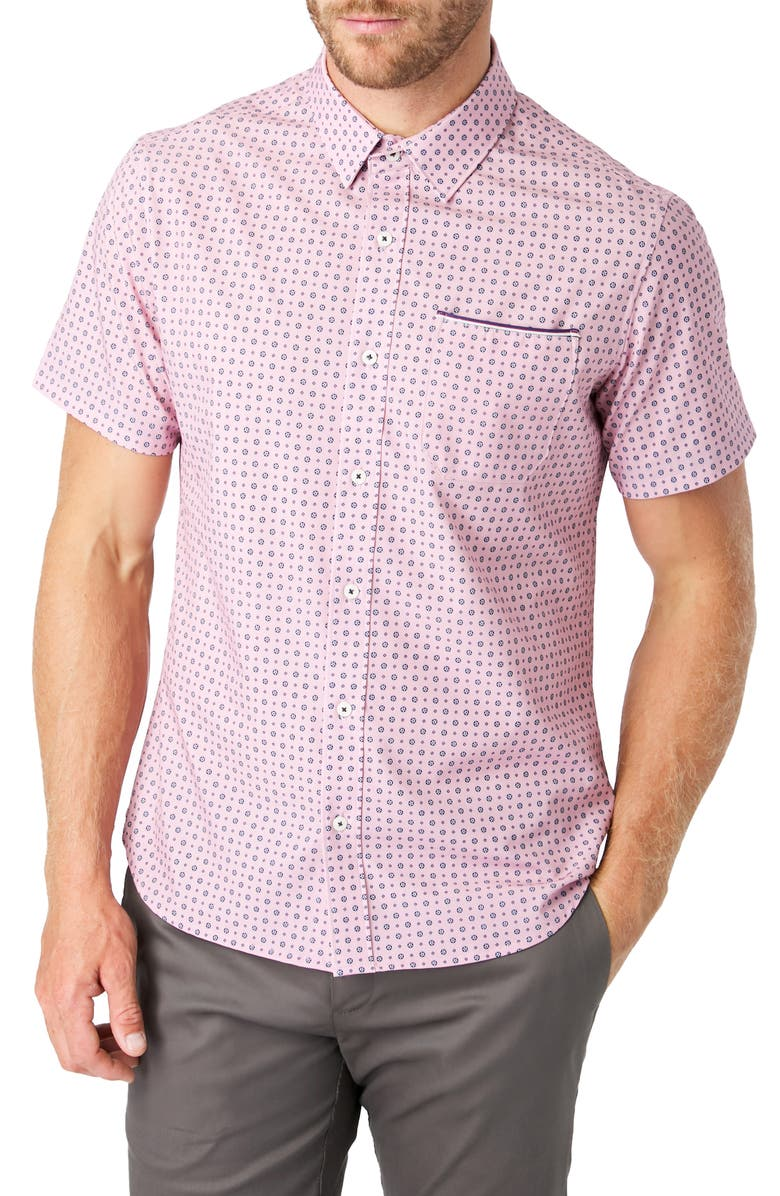 7 DIAMONDS Another Dimension Slim Fit Short Sleeve Button-Up Shirt, Main, color, PINK