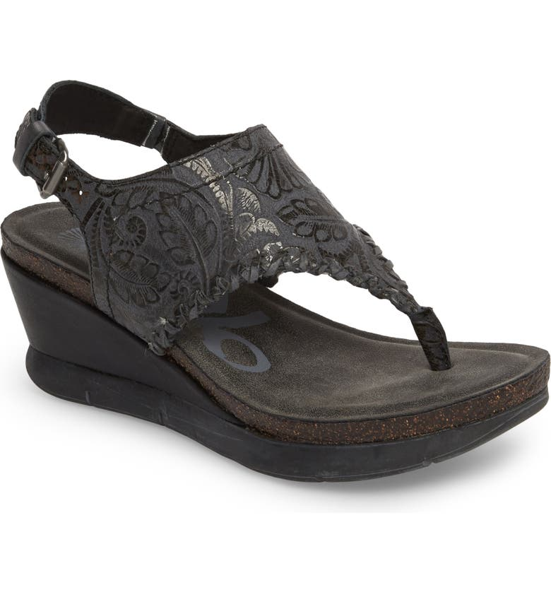 OTBT Meditate Wedge Sandal, Main, color, BLACK SPARKLE LEATHER