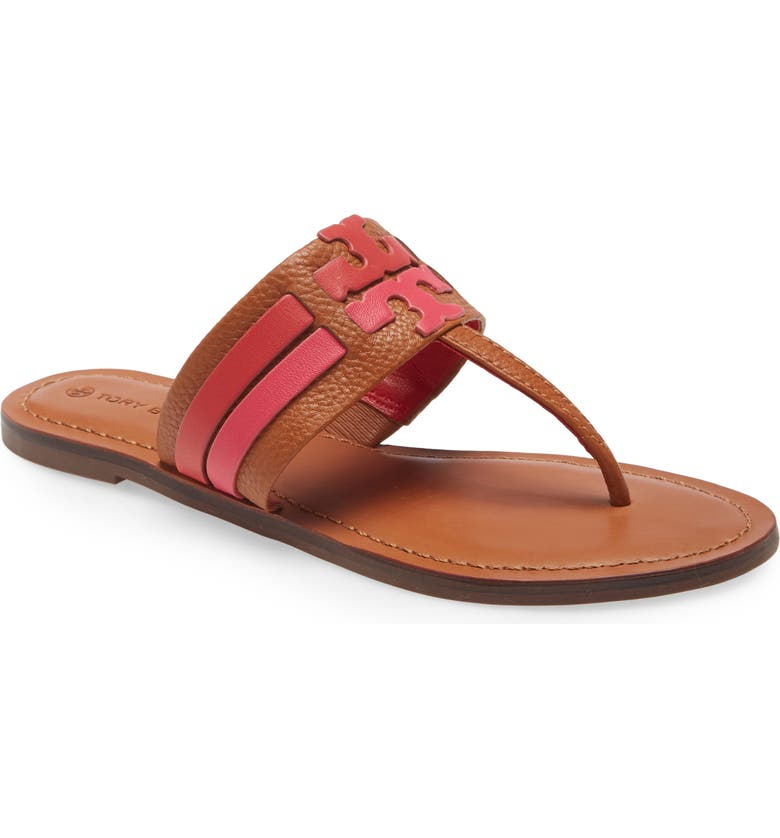 TORY BURCH Leigh Flip Flop, Main, color, AMBRA/ CARNELIAN/ AZALEA