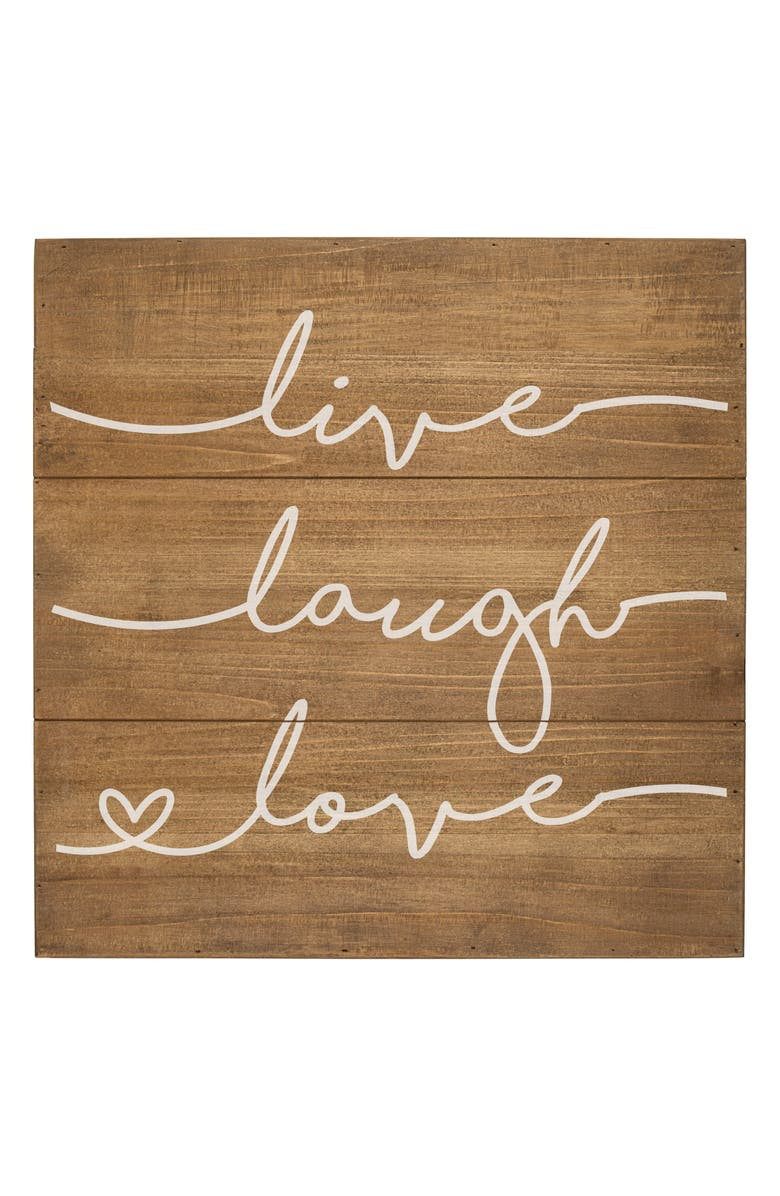 CATHY'S CONCEPTS Live Laugh Love Rustic Wood Sign, Main, color, BROWN
