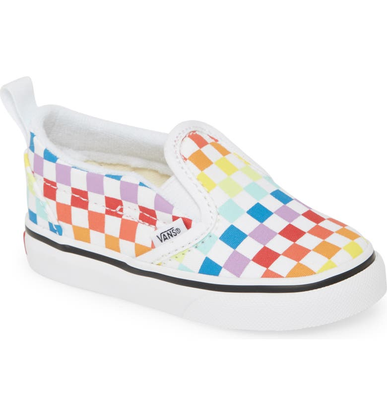 VANS Checkerboard Slip-On Sneaker, Main, color, RAINBOW/ TRUE WHITE