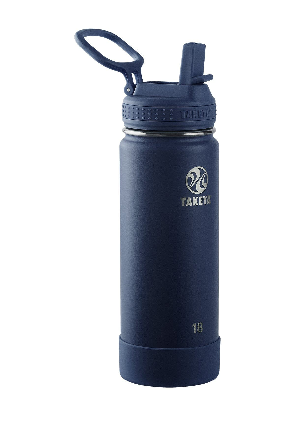 Image of Takeya Actives Insulated 18 oz. Stainless Steel Bottle with Straw Lid - Midnight
