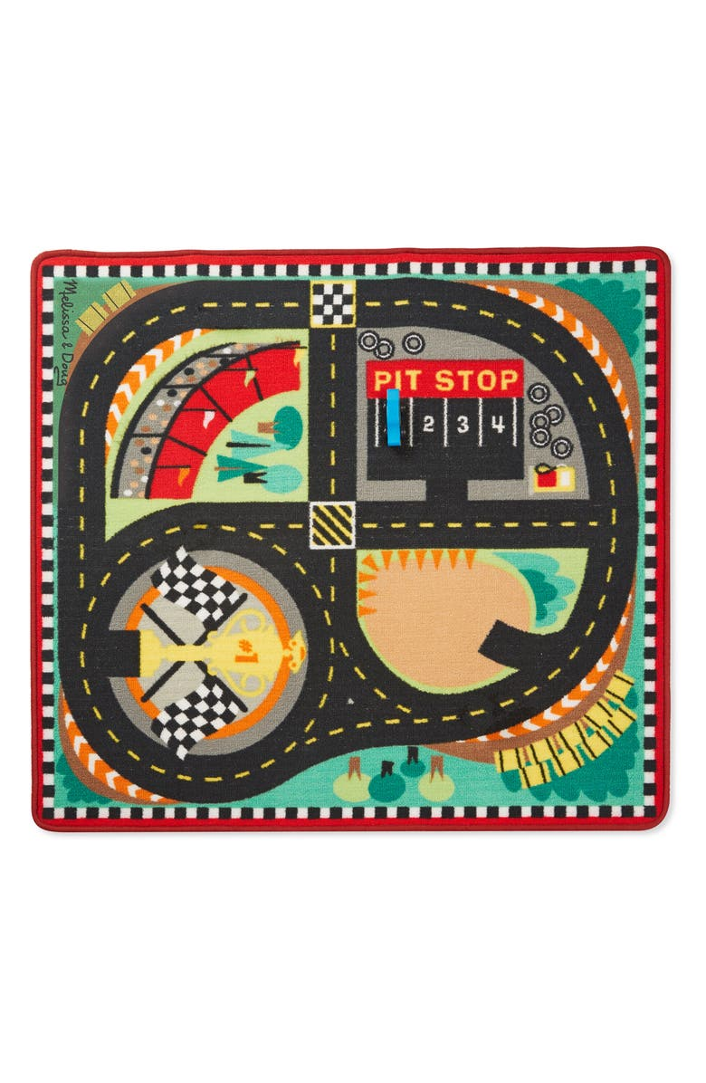 MELISSA & DOUG Round the Speedway Race Track Rug & Car Set, Main, color, MULTICOLORED