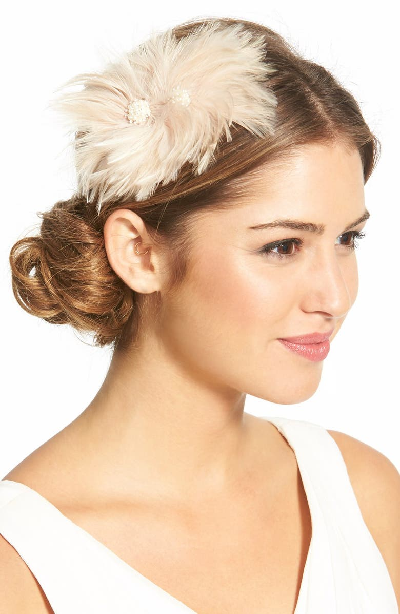 VEIL TRENDS J-Picone Feather Fascinator, Main, color, 650
