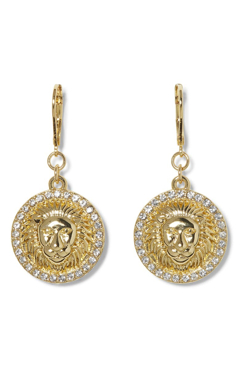 VINCE CAMUTO Lion Head Drop Earrings, Main, color, GOLD