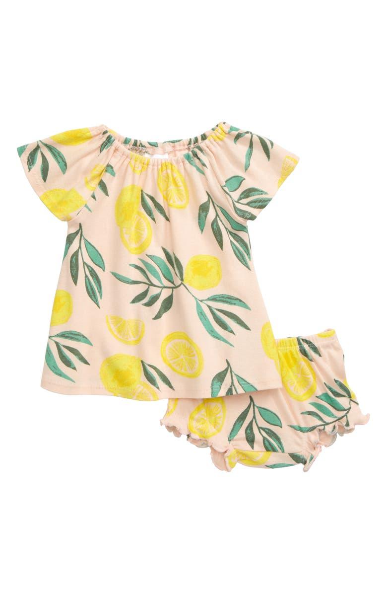 NORDSTROM BABY Everyday Lemon Print Dress, Main, color, PINK BLUSH LEMONS