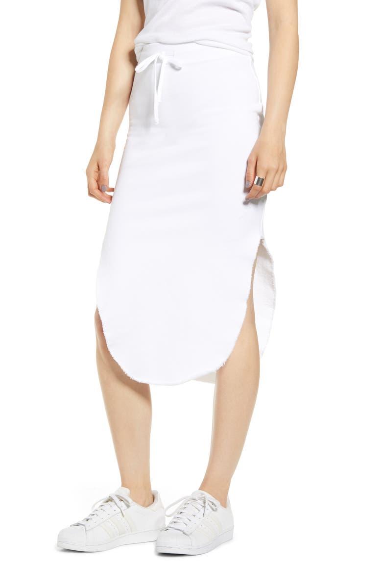 FRANK & EILEEN Tie Waist Fleece Skirt, Main, color, WHITE