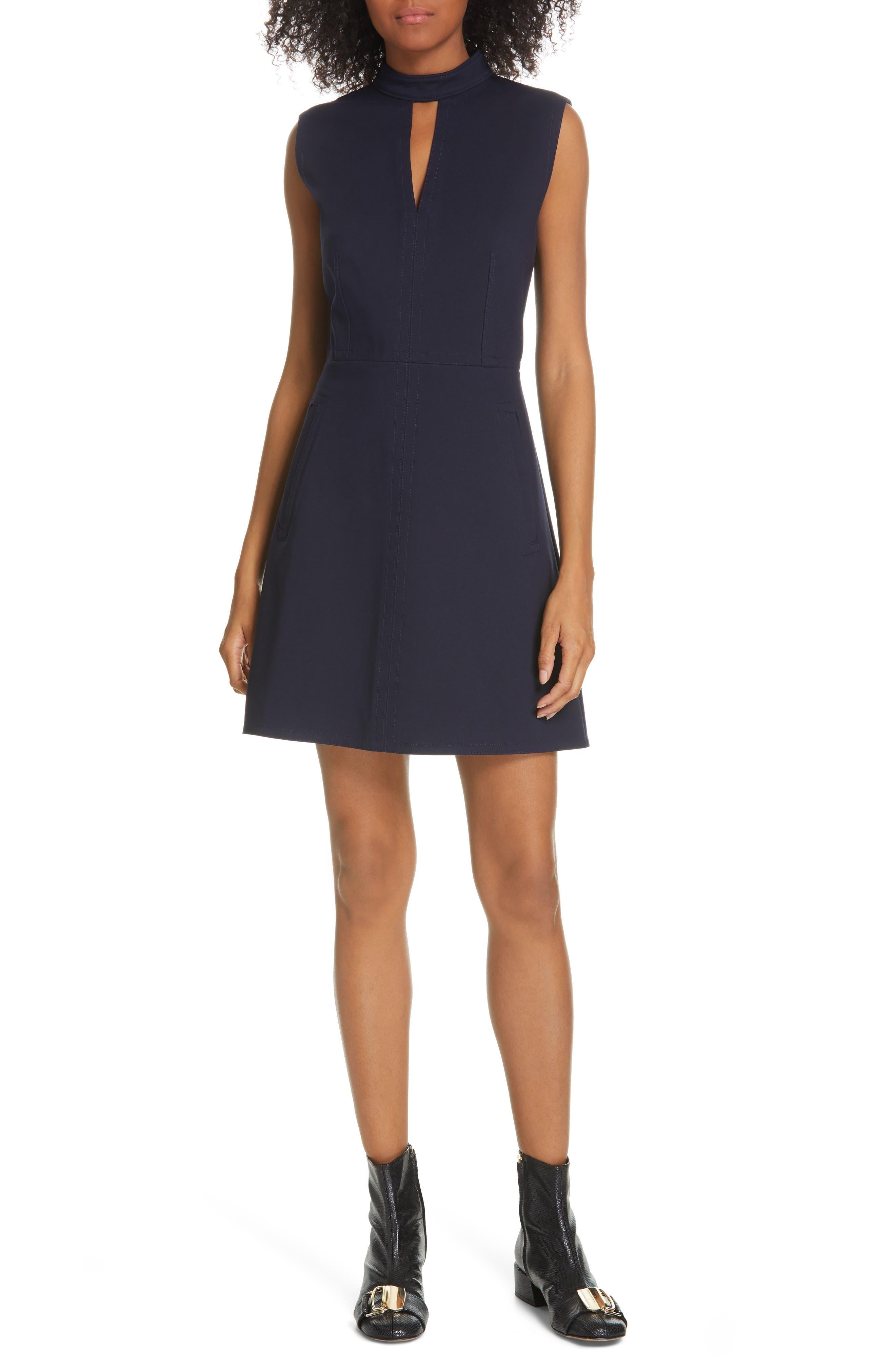 Tibi Bonded Knit Minidress, Blue