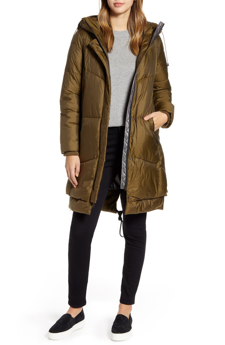 COLE HAAN Long Hooded Puffer Coat, Main, color, OLIVE