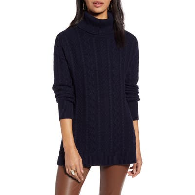 Halogen Cable Turtleneck Tunic Sweater, Blue