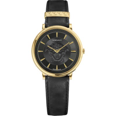 Versace V-Circle Leather Strap Watch,