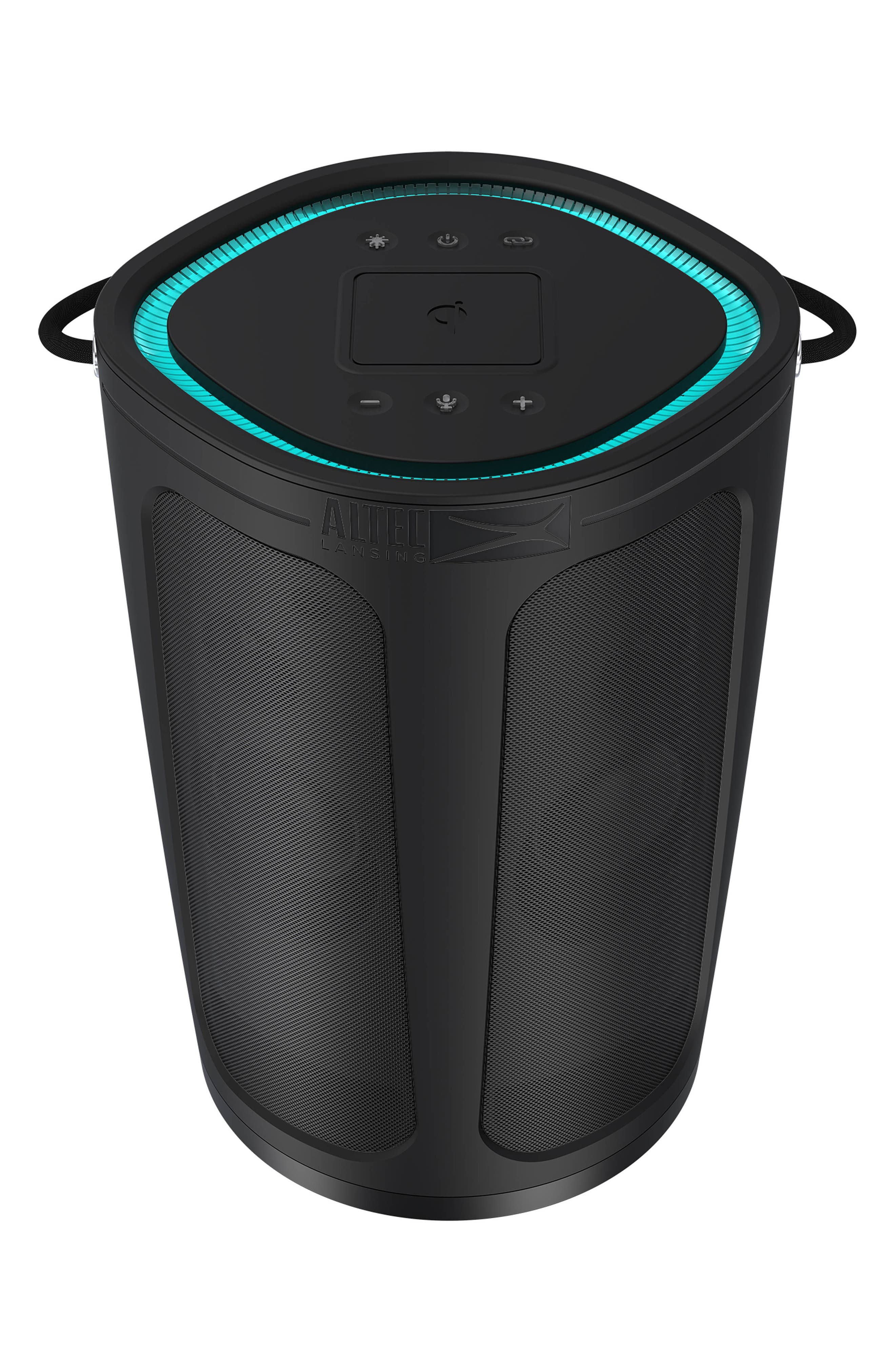 A bucket-shaped wireless speaker packs in and packs out the beach, pool or picnic spot in a splashproof, Bluetooth sound-boosting design. Even as it streams music wirelessly from your phone, wireless charging keeps it powered so the booming bass from the bucket doesn\\\'t have to stop. Includes: Speaker, USB charging cableWireless connectivity: BluetoothSystem compatibility: Apple and Android devicesAdditional features: LED-illuminated lights,