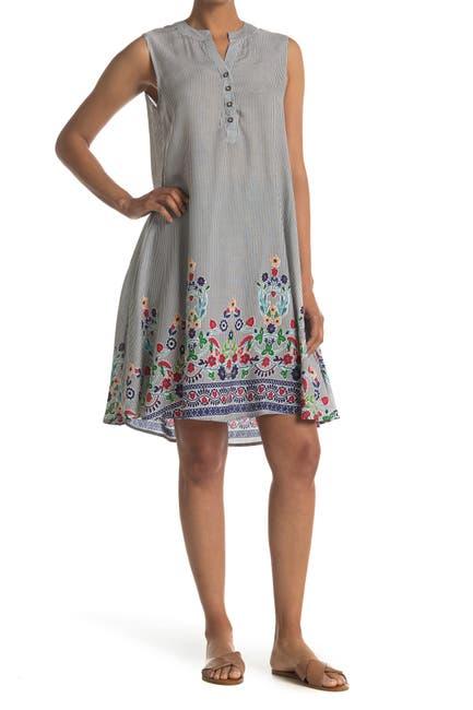 Image of Papillon Floral Stripe A-Line Henley Dress