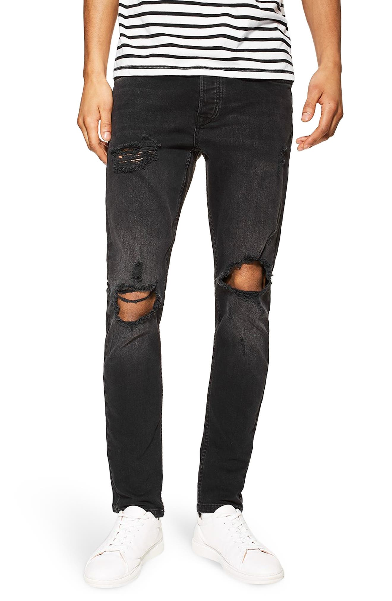 Ripped Skinny Fit Jeans, Main, color, WASHED BLACK