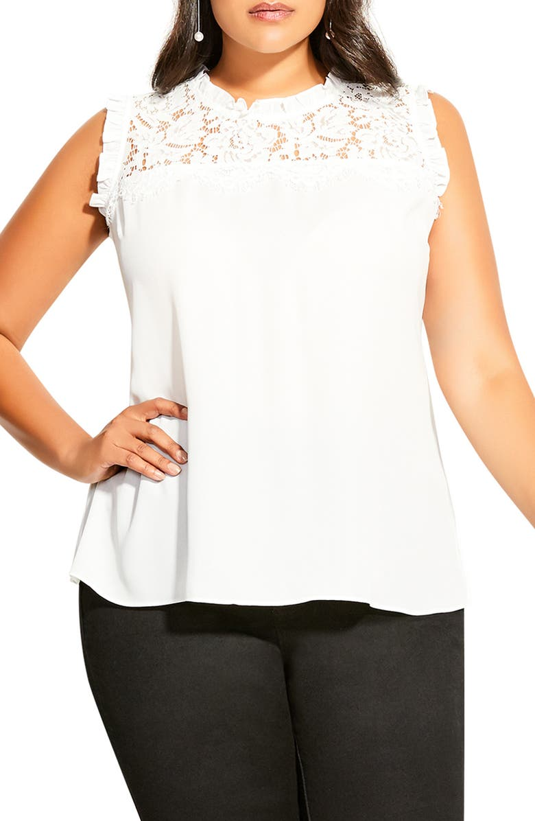 CITY CHIC Angel Sleeveless Top, Main, color, IVORY