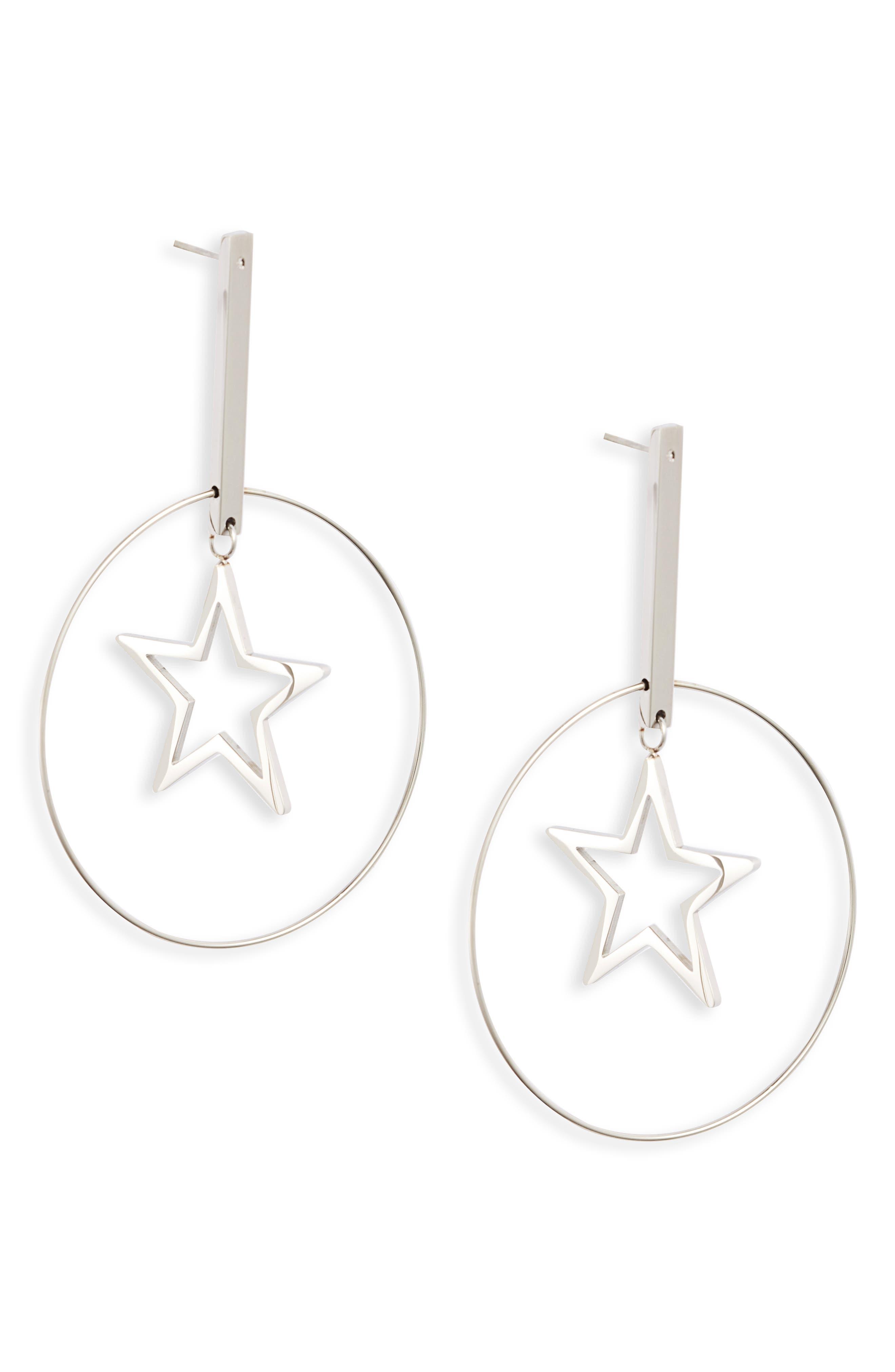 Floating Star Hoop Earrings