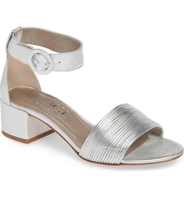 AGL Ankle Strap Sandal, Main, color, SILVER
