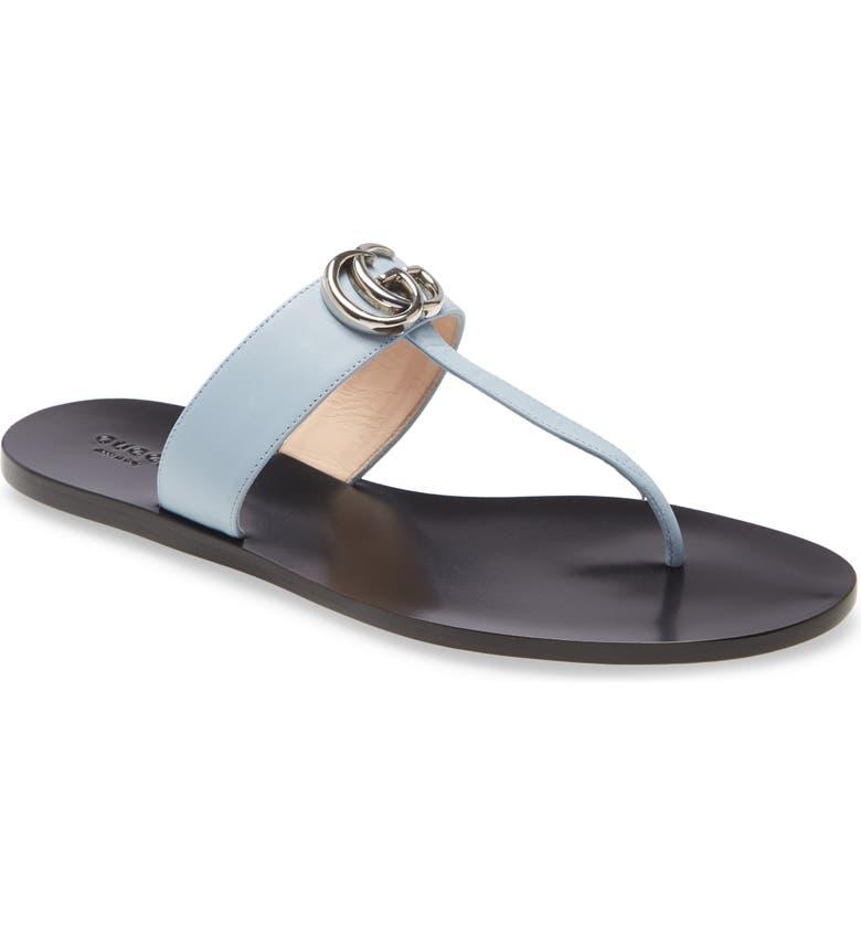 GUCCI GG T-Strap Sandal, Main, color, PORCELAIN LIGHT BLUE