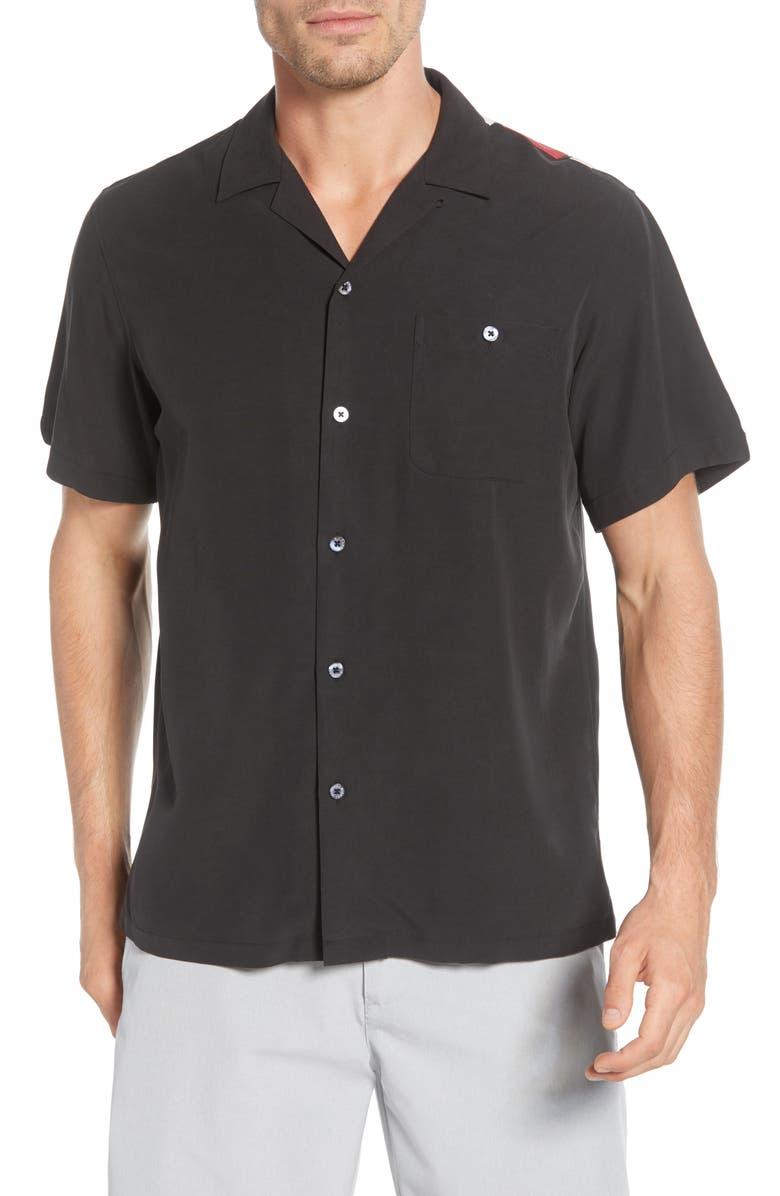 TORI RICHARD Santa Notes Classic Fit Silk Blend Button-Up Shirt, Main, color, 001